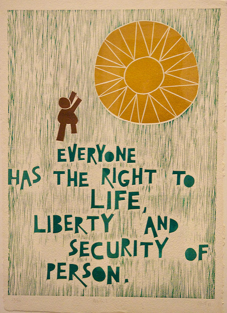 This language from the Universal Declaration of Human Rights echoes that of the Declaration of Independence. And yet, America still struggles with upholding these global principles. (Photo Credit: Jordan Lewin/Flickr/CC BY-NC 2.0)